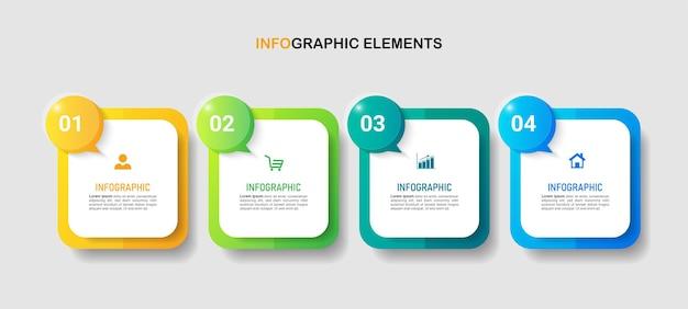 Modello di infografica di processo in 4 passaggi
