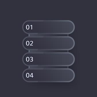 4 passaggi, design della barra di avanzamento al buio