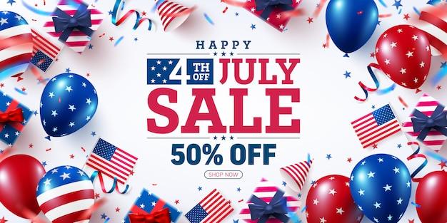 Manifesto di vendita del 4 luglio. celebrazione di festa dell'indipendenza di usa con la bandiera di molti palloni americani.