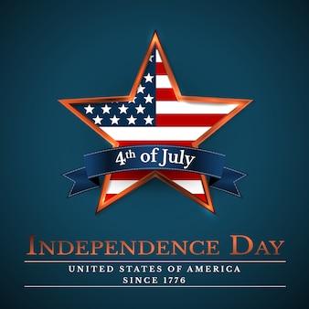 Stella degli stati uniti del 4 luglio nei colori nazionali d'america. giorno dell'indipendenza.