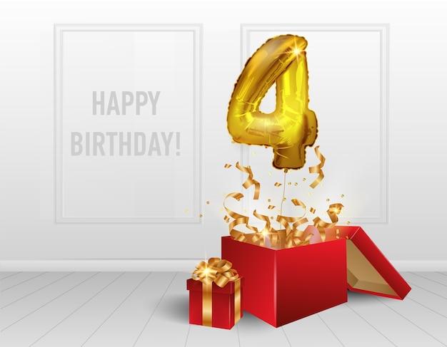 4 anni di palloncini d'oro. la celebrazione dell'anniversario. palloncini con coriandoli scintillanti volano fuori dalla scatola numero 4 nella stanza athos.