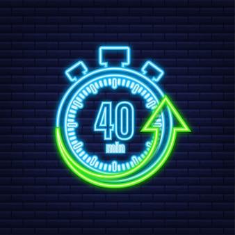 I 40 minuti, icona al neon di vettore del cronometro. icona del cronometro in stile piatto, timer su sfondo colorato. illustrazione vettoriale.