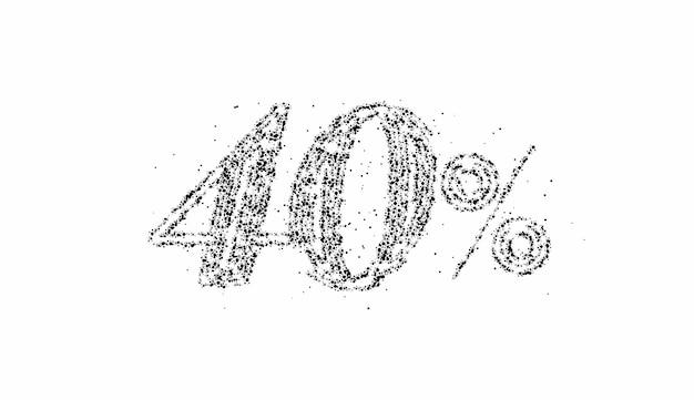 40% di sconto banner di sconto sulla vendita di particelle. prezzo dell'offerta di sconto. illustrazione moderna dell'autoadesivo di vettore.