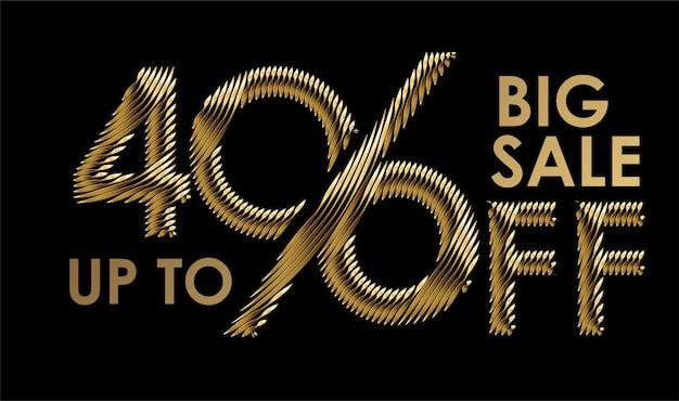 Banner di sconto del 40% di sconto. prezzo di offerta sconto oro. illustrazione moderna dell'autoadesivo di vettore.