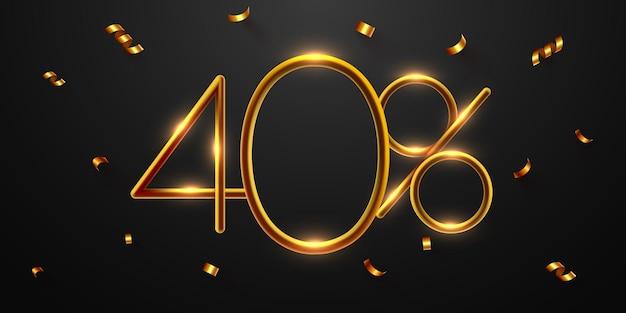 40 percento di sconto sulla composizione creativa 3d mega vendita o quaranta percento di bonus