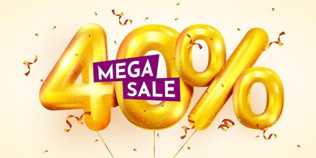 40% di sconto sconto composizione creativa di mega vendita di palloncini dorati o quaranta percento