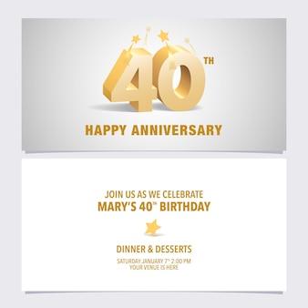 Illustrazione di carta di invito anniversario di 40 anni