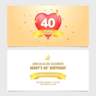 Biglietto d'invito per l'anniversario dei 40 anni