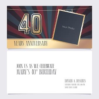 Illustrazione dell'invito di 40 anni anniversario