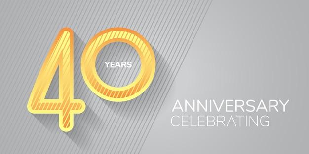 Logo dell'icona di vettore di 40 anni anniversario numero al neon e bodycopy per il 40 ° anniversario