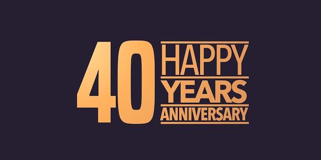 Icona di vettore di 40 anni anniversario, simbolo, logo. sfondo grafico o carta per la festa di compleanno del 40° anniversario