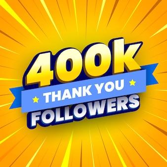 Banner di 400000 seguaci con nastro blu
