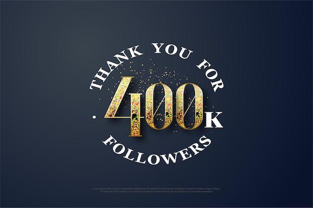 400k follower con numeri formati da glitter dorati
