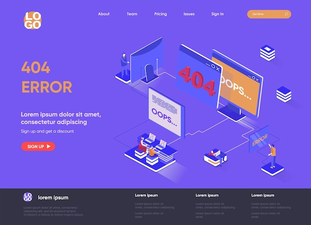 Illustrazione isometrica della pagina di destinazione 3d di errore 404 con i caratteri della gente Vettore Premium