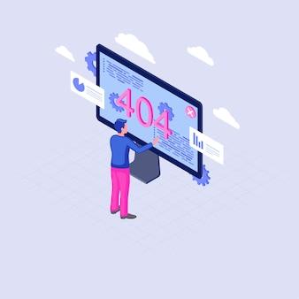 Errore 404 sul display illustrazione isometrica