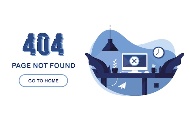Pagina di errore 404 non trovata. vai al banner principale. errore di sistema, pagina danneggiata. interno con computer e scrivania. per il sito web. segnala un problema. blu e bianco.