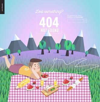 Modello di errore 404 di giovani coppie sul picnic
