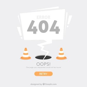 Modello web errore 404 con coni in stile piatto