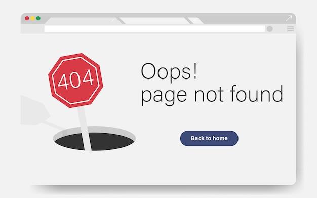 404 pagina del sito non è stato trovato concetto. pagina di destinazione dell'errore non riuscita per errore del sito web / sito web in costruzione. tenere su strada con segno di errore 404.