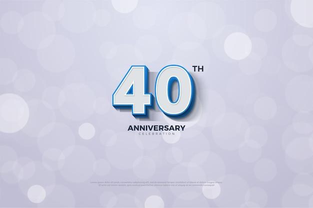 Sfondo del 40 ° anniversario con numeri 3d con spesse strisce blu sui bordi.
