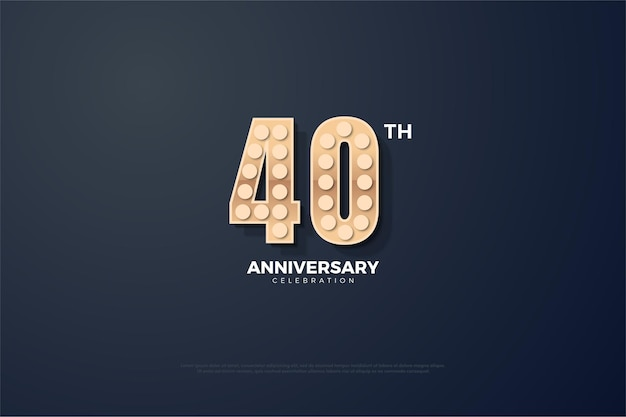 Sfondo del 40 ° anniversario con numeri 3d con una texture leggera.