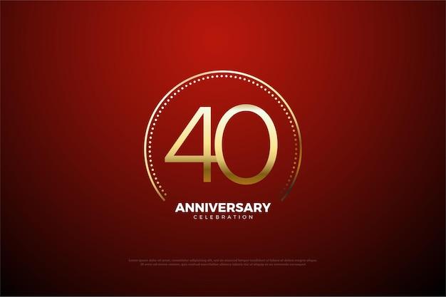 Sfondo 40 ° anniversario con punti e linee d'oro circolari.