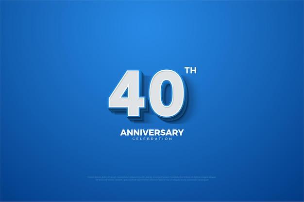 Sfondo 40 ° anniversario con numeri 3d in rilievo in bianco su sfondo blu.