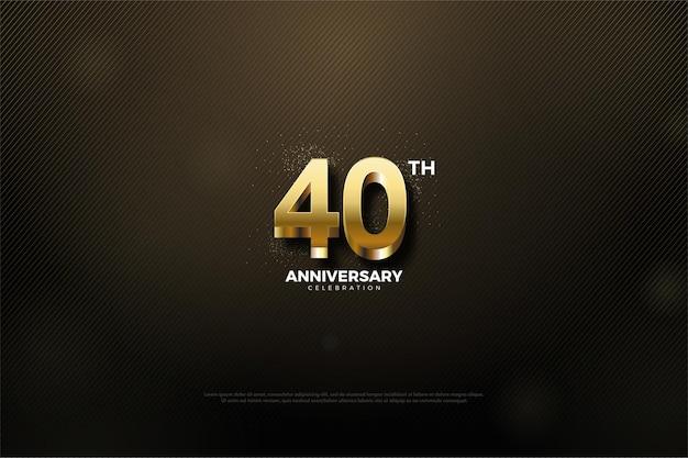 Sfondo del 40 ° anniversario con numeri d'oro in rilievo.