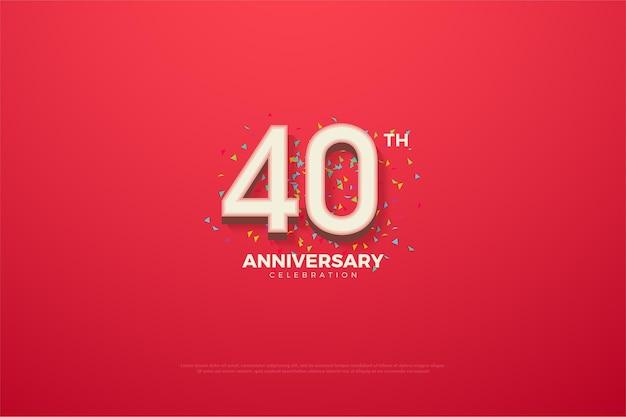 Sfondo del 40 ° anniversario con numeri bianchi in rilievo e sfumati.