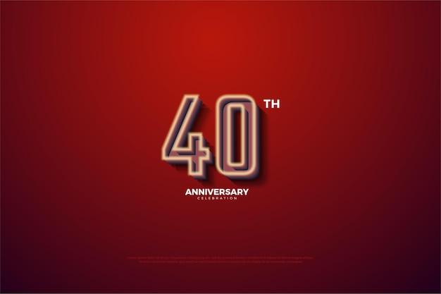 Sfondo 40 ° anniversario con numeri a strisce bianco latte sbiaditi.