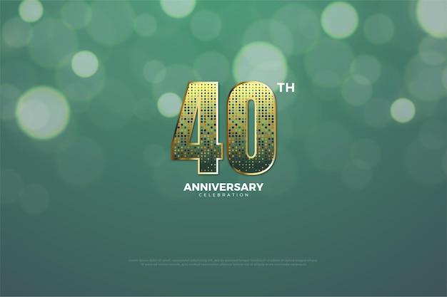 Sfondo 40 ° anniversario con glitter oro che formano numeri.