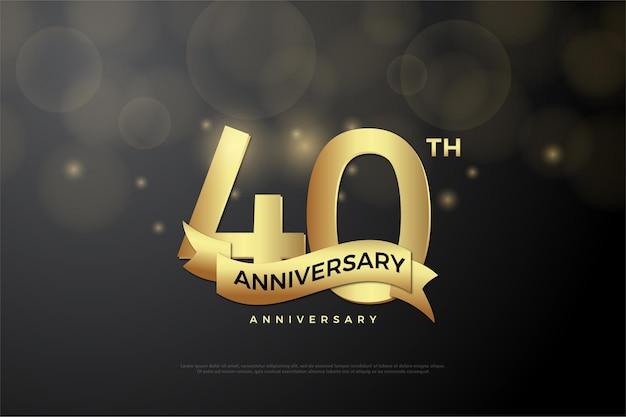 Sfondo 40 ° anniversario con numeri e nastri d'oro.