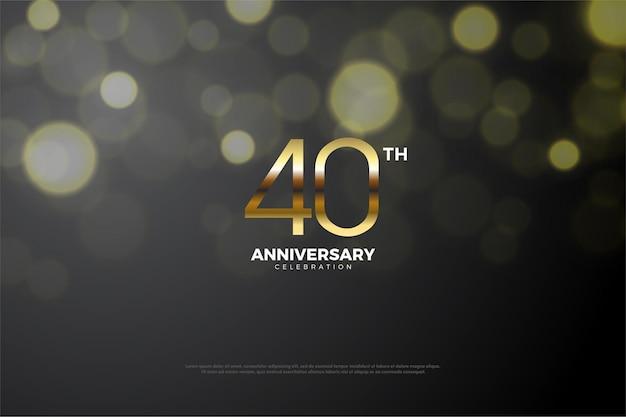 Sfondo 40 ° anniversario con numeri d'oro.