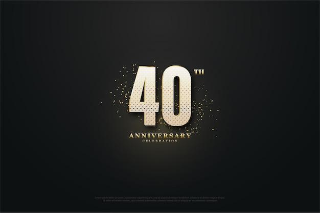 Sfondo 40 ° anniversario con un effetto luce al centro che illumina i numeri.