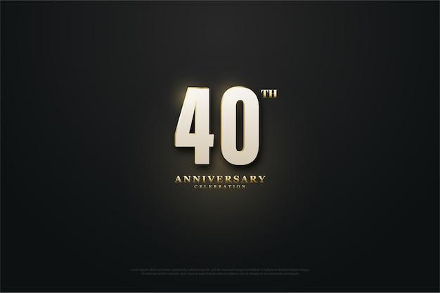 Sfondo 40 ° anniversario con numeri illuminati.