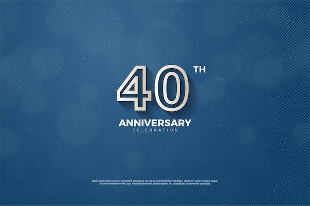 Sfondo 40 ° anniversario con numeri delineati in marrone sbiadito su sfondo blu navy.