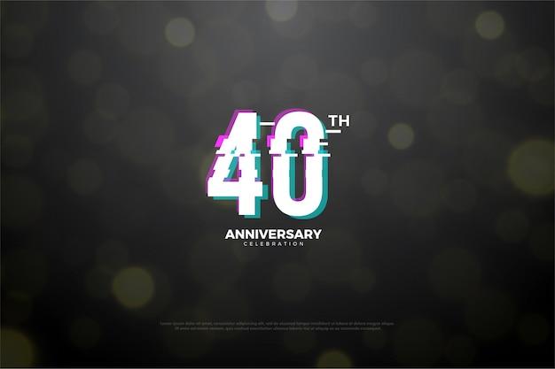 Sfondo del 40 ° anniversario con effetto di affettatura dei numeri.