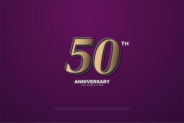Sfondo viola 40 ° anniversario con numeri marroni e leggermente dorati.