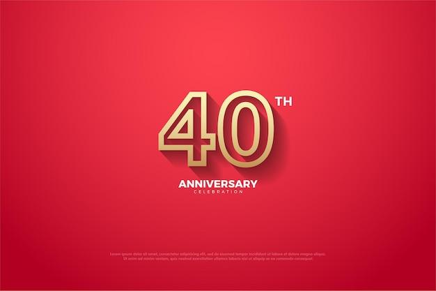 Sfondo rosso 40 ° anniversario con numeri a strisce marroni.