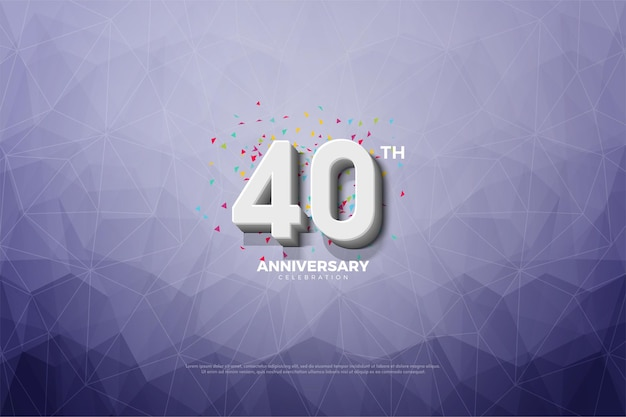 Sfondo rosso 40 ° anniversario con numeri in rilievo e sfumati e fondo in carta cristallo.