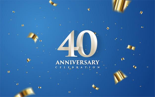 40 ° anniversario con numeri bianchi su sfondo blu.