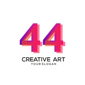 44 numero logo gradiente design colorato