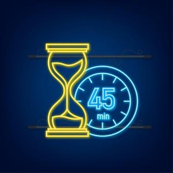 I 45 minuti, icona al neon di vettore del cronometro. icona del cronometro in stile piatto, timer su sfondo colorato. illustrazione vettoriale.