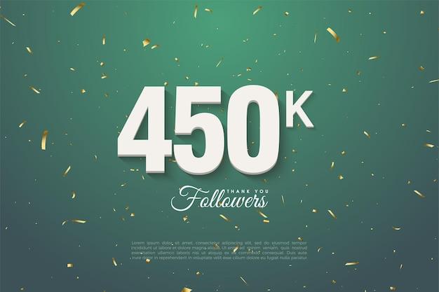 450k follower su sfondo verde foglia scuro punteggiato d'oro