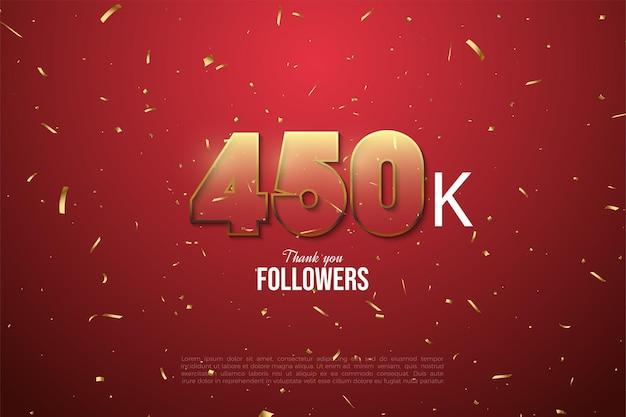 450k follower con numeri trasparenti bordati d'oro