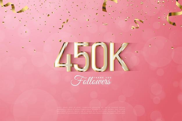 450k follower con numeri con bordi dorati