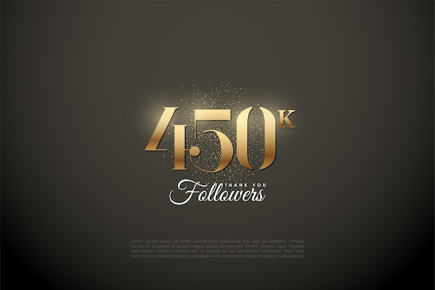 450k follower con numeri e punti dorati