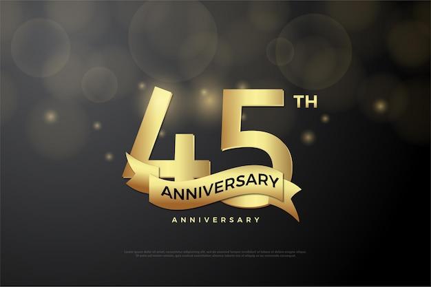 45 ° anniversario con numeri e un nastro d'oro.