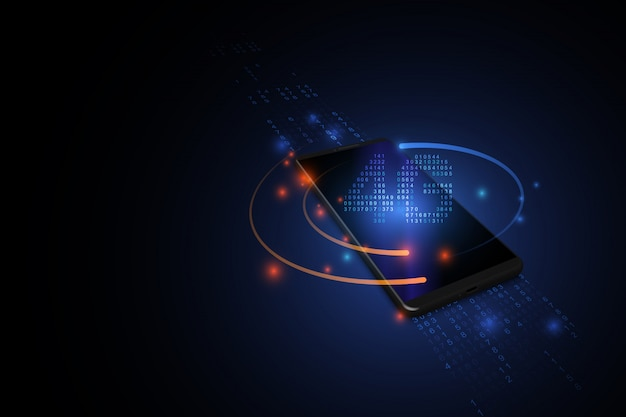 Sfondo tecnologia 4g. dati digitali su reti mobili e sfondo blu