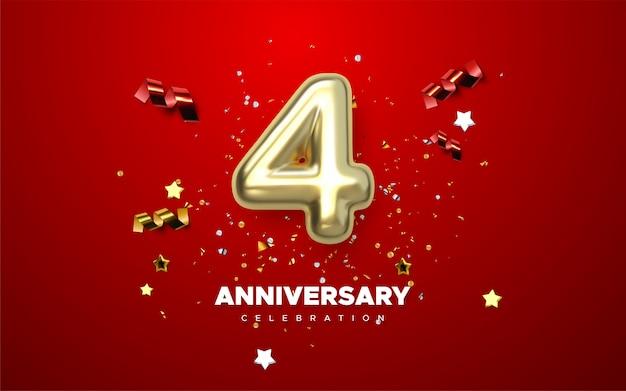 Celebrazione dell'anniversario 4h. numeri dorati con coriandoli scintillanti, stelle, luccichii e nastri streamer. illustrazione festiva. segno 3d realistico. decorazione di eventi per feste